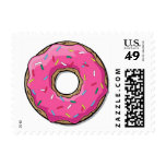Cartoon Pink Donut With Sprinkles Postage Stamp