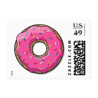 Cartoon Pink Donut With Sprinkles Postage Stamp