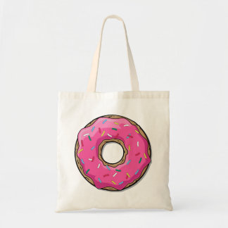 Cartoon Pink Donut With Sprinkles Tote Bag