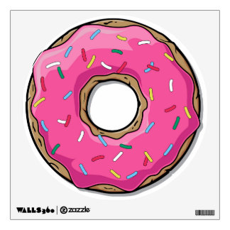 Cartoon Pink Donut With Sprinkles Wall Sticker
