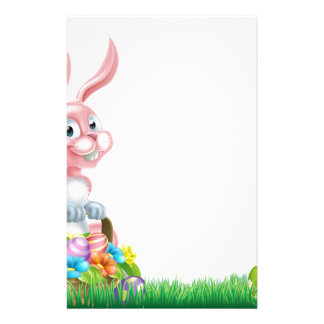 Cartoon Pink Easter Bunny Egg Hunt Stationery