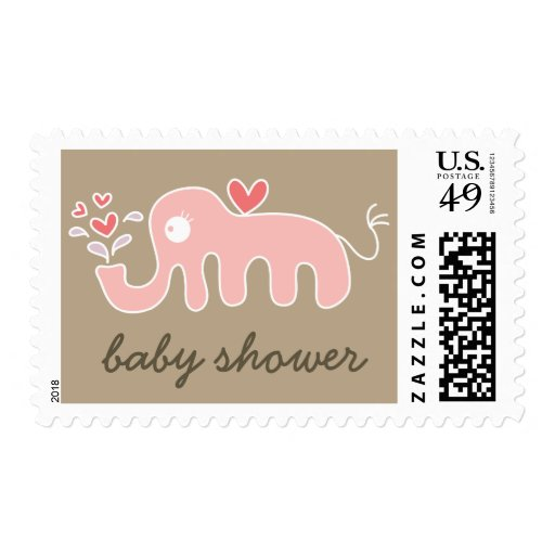 Cartoon Pink Elephant Baby Girl Shower Stamps