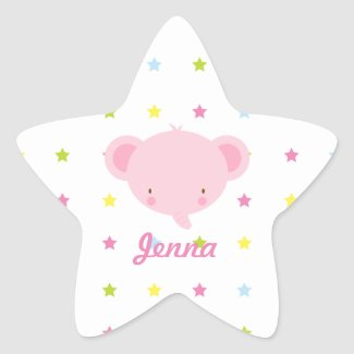 Cartoon Pink Elephant Stickers sticker