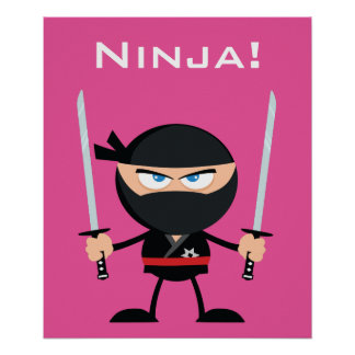 Cartoon Pink Ninja Warrior With Two Katana Poster