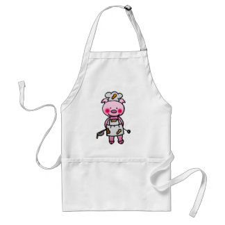 Cartoon pink pig chef adult apron