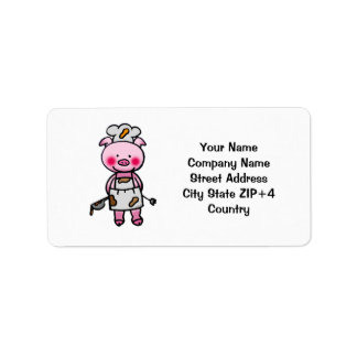 Cartoon pink pig chef label
