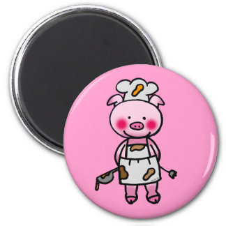 Cartoon pink pig chef magnets