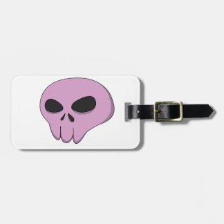 cartoon pink skull bag tag