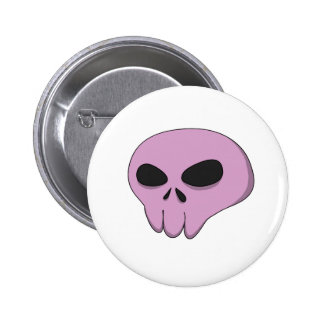 cartoon pink skull button