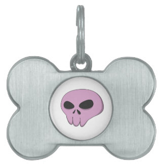 cartoon pink skull pet name tag