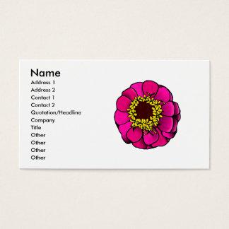 Cartoon Pink Zinnia Business Card