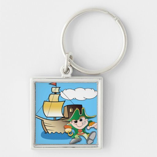Cartoon Pirate and Ship Keychains