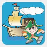 Cartoon Pirate and Ship Square Sticker