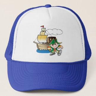 Cartoon Pirate and Ship Trucker Hat