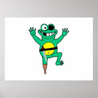 Cartoon Pirate Frog Print