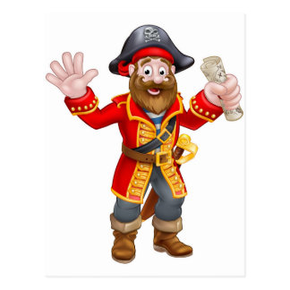 Cartoon Pirate Holding Map Postcard