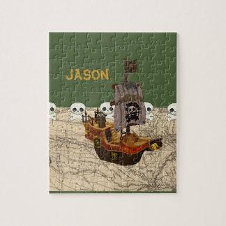 Cartoon Pirate Ship Customize Name Jigsaw Puzzle