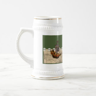 Cartoon Pirate Ship Personalize Beer Stein