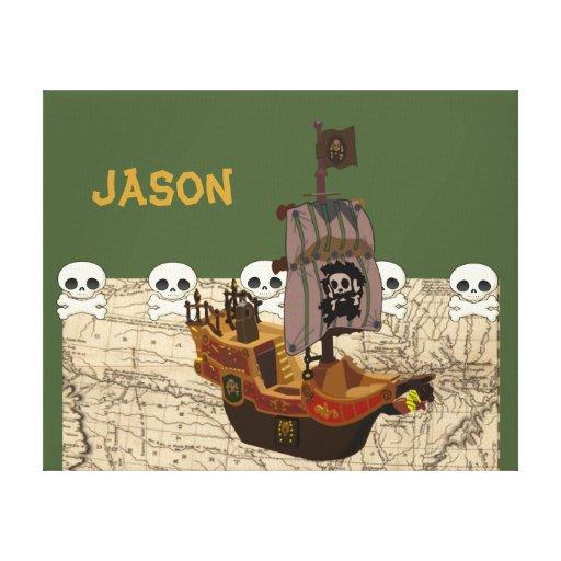 Cartoon Pirate Ship Personalize Canvas Print