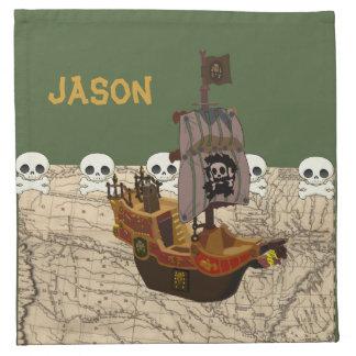 Cartoon Pirate Ship Personalize Cloth Napkin