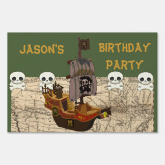 Cartoon Pirate Ship Personalize Lawn Sign