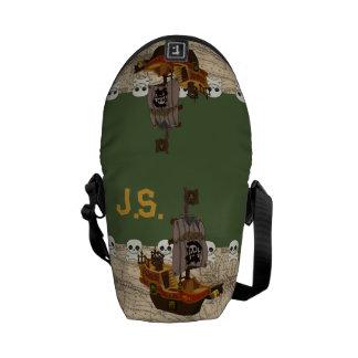 Cartoon Pirate Ship Personalize Messenger Bag