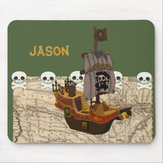 Cartoon Pirate Ship Personalize Mouse Pad