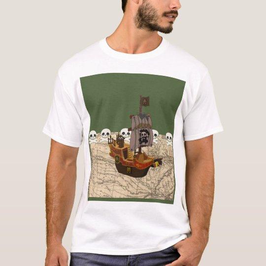 Cartoon Pirate Ship Personalize T-Shirt