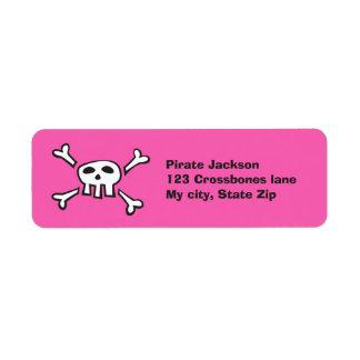 Cartoon pirate skull pink return address label