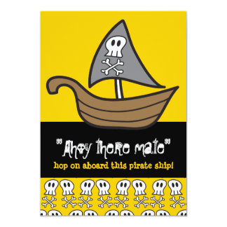 Cartoon Pirate Skulls & Bones Birthday Party Card