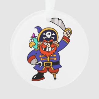 Cartoon Pirate With Peg Leg And Sword