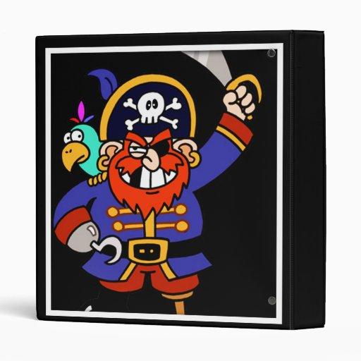 Cartoon Pirate With Peg Leg And Sword Vinyl Binders