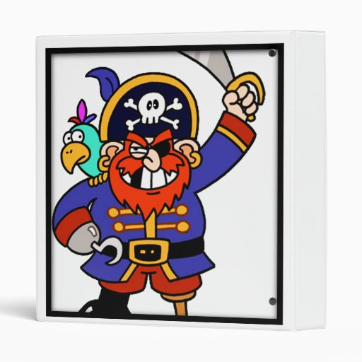 Cartoon Pirate With Peg Leg And Sword Binder