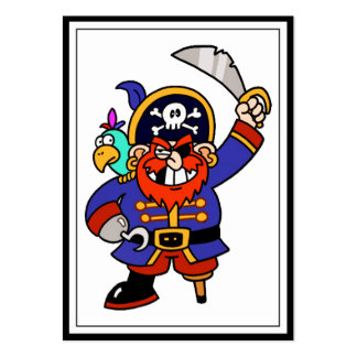 Cartoon Pirate With Peg Leg And Sword Business Card