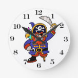 Cartoon Pirate With Peg Leg And Sword Round Wall Clock