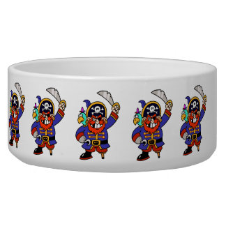 Cartoon Pirate With Peg Leg And Sword Dog Food Bowls