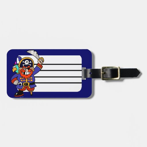 Cartoon Pirate With Peg Leg And Sword Luggage Tag