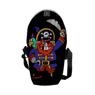 Cartoon Pirate With Peg Leg And Sword Messenger Bag