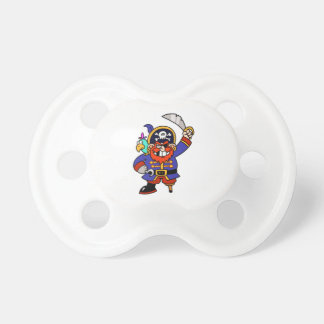 Cartoon Pirate With Peg Leg And Sword Baby Pacifiers