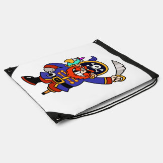 Cartoon Pirate With Peg Leg And Sword Drawstring Bag