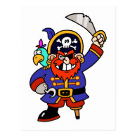 Cartoon Pirate With Peg Leg And Sword Postcard