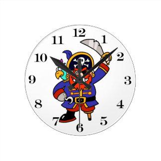 Cartoon Pirate With Peg Leg And Sword Round Clock