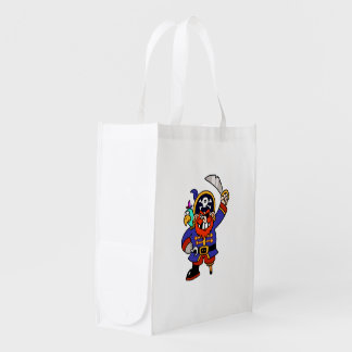 Cartoon Pirate With Peg Leg And Sword Grocery Bag