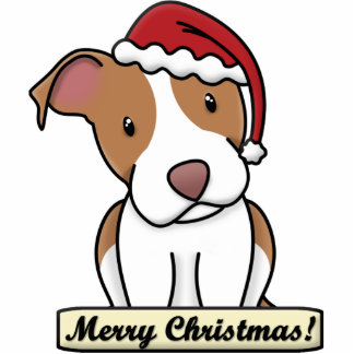 Cartoon Pit Bull Christmas Ornament Photo Cut Out