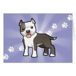 Cartoon Pitbull / American Staffordshire Terrier Greeting Card