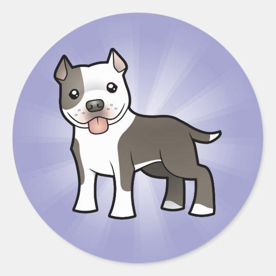 Cartoon Pitbull / American Staffordshire Terrier Classic Round Sticker