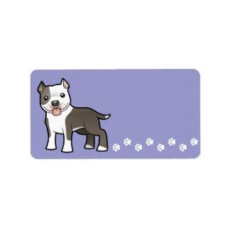 Cartoon Pitbull / American Staffordshire Terrier Address Label