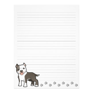 Cartoon Pitbull / American Staffordshire Terrier Letterhead