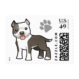 Cartoon Pitbull / American Staffordshire Terrier Postage