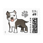 Cartoon Pitbull / American Staffordshire Terrier Postage Stamps